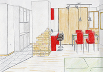 赤と白の空間に照明がプラスされカジュアルなイメージに。マンションならではの設...